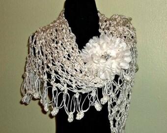 On Sale- Ivory Crochet Shawl Triangle Lace Bridal Wedding Wrap Scarf Boho Summer Wrap With Flower Brooch