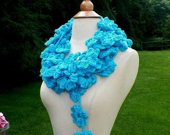 On Sale- Scarf Flower Summer Blue Festival Lariat Turquoise Festival Infinity Necklace Floral  Freeform OOAK Extra Long Skinny