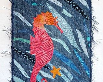 Seahorse Upcycled Denim Art Quilt / Small Gift Ideas / Fiber Art / Seahorse Art / Textile Wall Hanging / Quilted Wall Hanging / Art Quilt