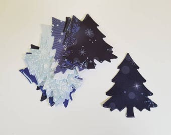 27 Punched Christmas Trees in Christmas Designer Paper