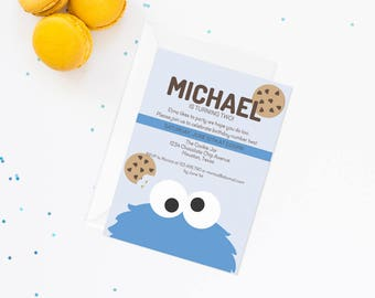 Cookie Monster Invite | Cookie Monster Invitation | Sesame Street Invitation | Sesame Street Birthday Party | Cookie Monster Birthday Party