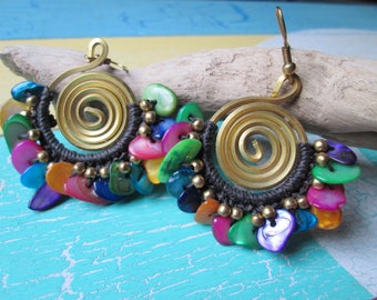 Earrings with colorful mother-of-Pearl nuggets * crochet with beads * hippie * boho * Gipsy Festival style *.