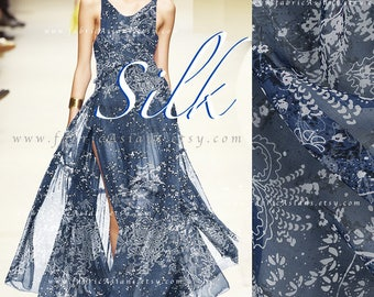 Steel blue silk chiffon fabric by the yard