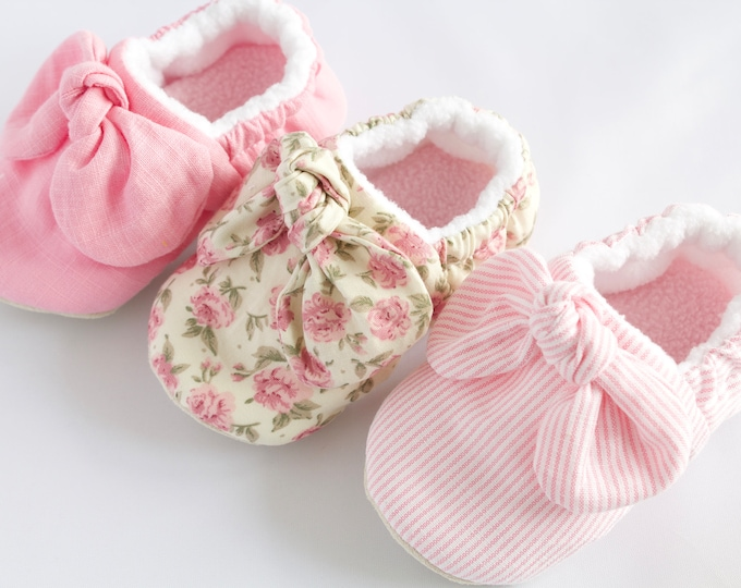Pink Knotted bow baby girl shoes, pre walkers and toddlers