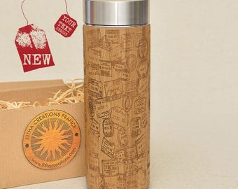 Customized Thermos Engraved Bamboo Wood STAMPS Stainless Steel with Screw Lid