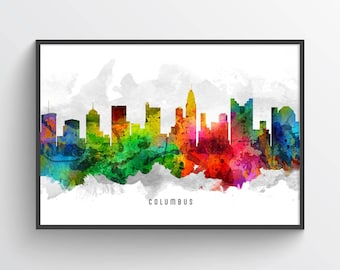 Columbus Skyline Poster, Columbus Cityscape, Columbus Print, Columbus Art, Columbus Decor, Home Decor, Gift Idea, USOHCO12P
