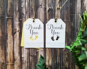 White Personalized》THANK YOU TAG《Cutout Baby Feet/Baby Shower/Birthday Favor/Gift Tag