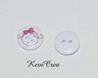 5 x white face girl 15mm wooden buttons