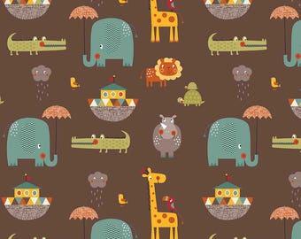 Riley Blake Cotton Jersey Knit Giraffe Crossing 2 Main Brown