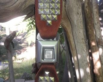 "Burgundy Seatbelt Belt with Studs (34&1/2"")"