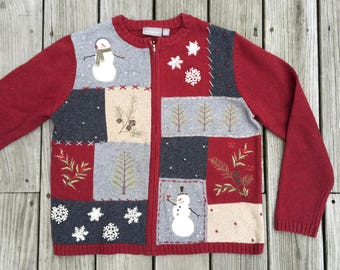 Vintage Ugly Snowmen Christmas Sweater Holiday