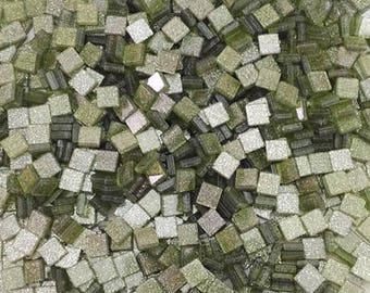 Resin mosaic tiles 5x5mm, Sparkle effect, Mosstone