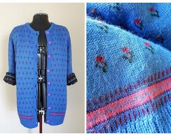 Blue floral cardigan / Vintage Knit Cardigan / Bluebird Cardi / Size M Size 12  1960 retro sweater/ oversized slouchy knit