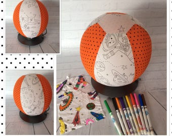 Colour Me, Balloon Ball Cover, Handmade, Fabric, Sensory Toy, Kids Ball, Colouring In, SPACE