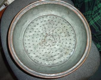 Vintage hand hammered copper strainer,steamer pot