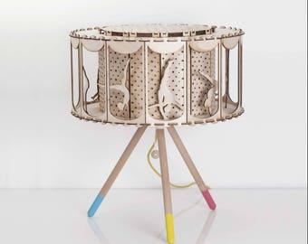 Circus Table Lamp, DIY Kit, Carousel Lamp, Circus Party, Rotating Lamp,