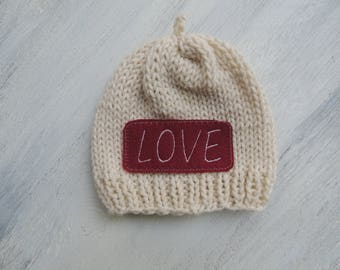 Hand knit Beanie, Luv Beanies, Baby Beanie, Personalized beanie, Boy Beanie, Girl Beanie, Valentines hats, Photo prop, Baby hats, Girl hats