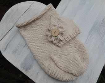 Knit Newborn Swaddle and beanie, Luv Beanies, Newborn Cacoon, Flower Beanie and cacoon, Infant Swaddle pouch, Newborn Photo prop