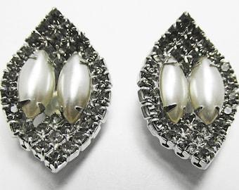Vintage - Collectible - Leaf Earrings - Jewelry - Silver - Rhinestones - Pearls - Earrings - Leaf - Flawless - Sparkling - Women - Gift