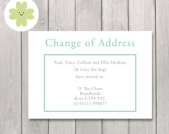 Classic style change of address cards, Traditional moving home announcements, Moving house address cards -x24 or printable