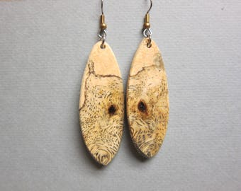 Unique Sindora Burl Exotic Wood Dangle Earrings ExoticWoodJewelryAnd handcrafted