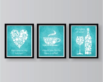 Charming ON SALE   Set Of 3 Kitchen Prints White On Teal Kitchen Decor   Teal Kitchen