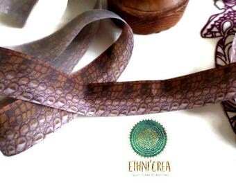 1 meter of Ribbon 26 mm crocodile skin imitation