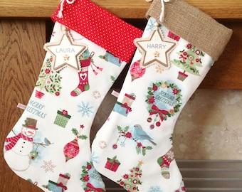 Christmas Stockings, Festive Mix Christmas Stocking, Personalised Christmas Stocking, Luxury Christmas Stocking, *FREE NAME TAG*