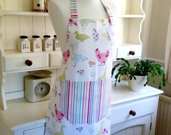 Apron, Pastel Ducks, Geese & Hens Ladies Apron, Full Apron, Adjustable Apron, Women's Apron, Mother and Daughter Gift, Baking Gift, Kitchen
