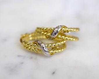 14K Gold Oval Double Rope Hoop Earrings