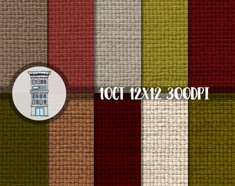 Christmas monks cloth digital papers pack INSTANT DOWNLOAD deep red olive green beige Digital Scrapbooking Christmas cards Holiday crafts