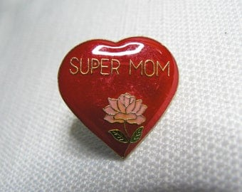 Deadstock - Never Worn - Vintage 80s - Super Mom - Heart and Flower - Cute / Kawaii Enamel Pin / Button / Pinback