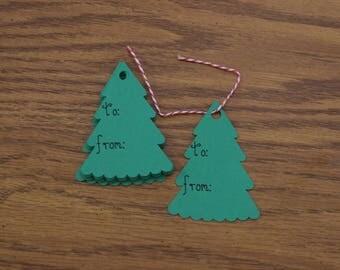 Christmas Tree Present Tags, Set of 25
