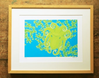 Octopus & coral limited edition A3 print
