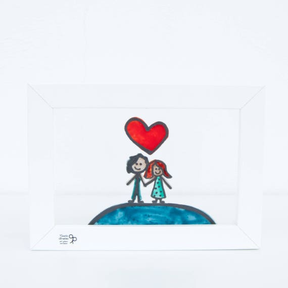 Valentine's Day - Glass picture of couple in love - Heart - Love - Anniversary - Wedding - Lovers - Desk - Hang on the wal - Ready To Ship