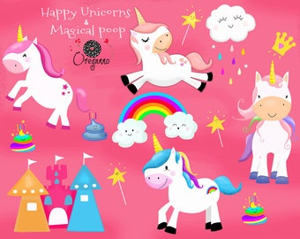 Cute party unicorn clipart-Printable graphics-Commercial use-Unicorn Magical-Unicorn Illustration-Unicorn Cute Clipart-digital clipart