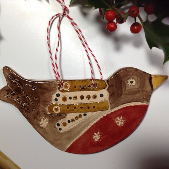 Handmade Ceramic Hanging Robin, Christmas ornament, decoration, Robin Redbreast, tree ornament