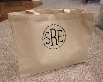 Monogrammed Tote Bag- Canvas