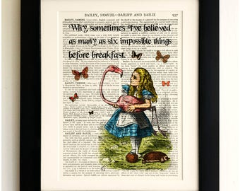 ART PRINT on old antique book page - *UNFRAMED* Alice in Wonderland Quote, Vintage Upcycled Wall Art Print Encyclopaedia Dictionary Page