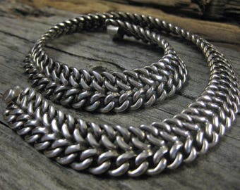 "WOW! 115.3 grams Sterling TAXCO CHOKER Bismark link chain necklace, heavy silver, 15 mm x 16"" long. Huge, over 4 ounces of silver!!!"