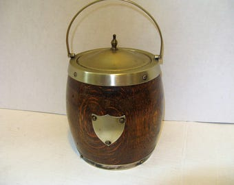 Antique English Tiger Oak Biscuit Barrel, Use for Ice or tobacco, Ceramic Liner, Un monogrammed Brass Cartouche