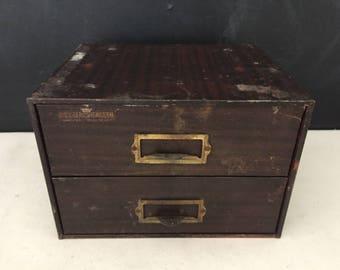 Metal Storage Bin - Vintage C&E Marshall Co Watch Cabinet - Industrial Metal Cabinet - Repurpose Drawer Storage - Table Top Cabinet