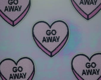 """Pink """"Go Away"""" Heart Iron on Patch"""