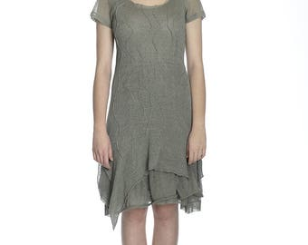 Special price, Summer transparent olive linen dress, S size.