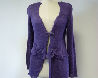 The hot price. Knitted purple delave linen cardigan, M size.