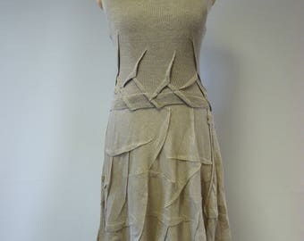 Summer taupe dress, L size. Made of pure linen.