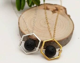 Hexagon Essential Oil Diffuser Necklace, Aromatherapy Necklace, Essential Oil Necklace, Lava Rock Necklace, Lava Rock Diffuser Jewelry