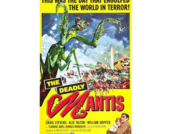 The Deadly Mantis Movie Poster, Classic 1957 Horror Film Poster 18x24 inch