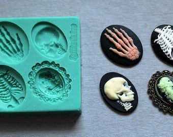 Silicone Mould Halloween cameos Sugarcraft Cake Decorating Fondant / fimo mold