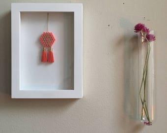 Minimalist Beaded Hexagon Tassel Framed Wall Art